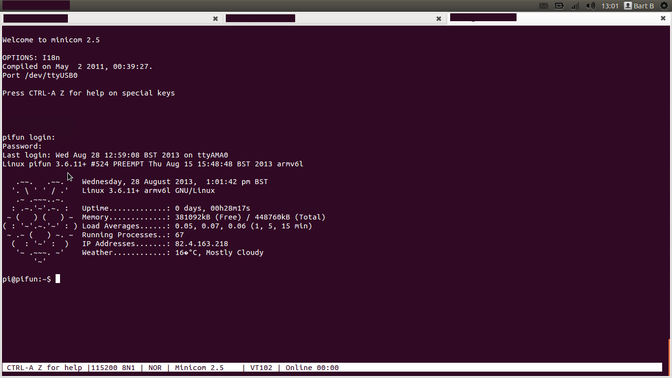 RPi access via minicom on Ubuntu 12.04 LTS