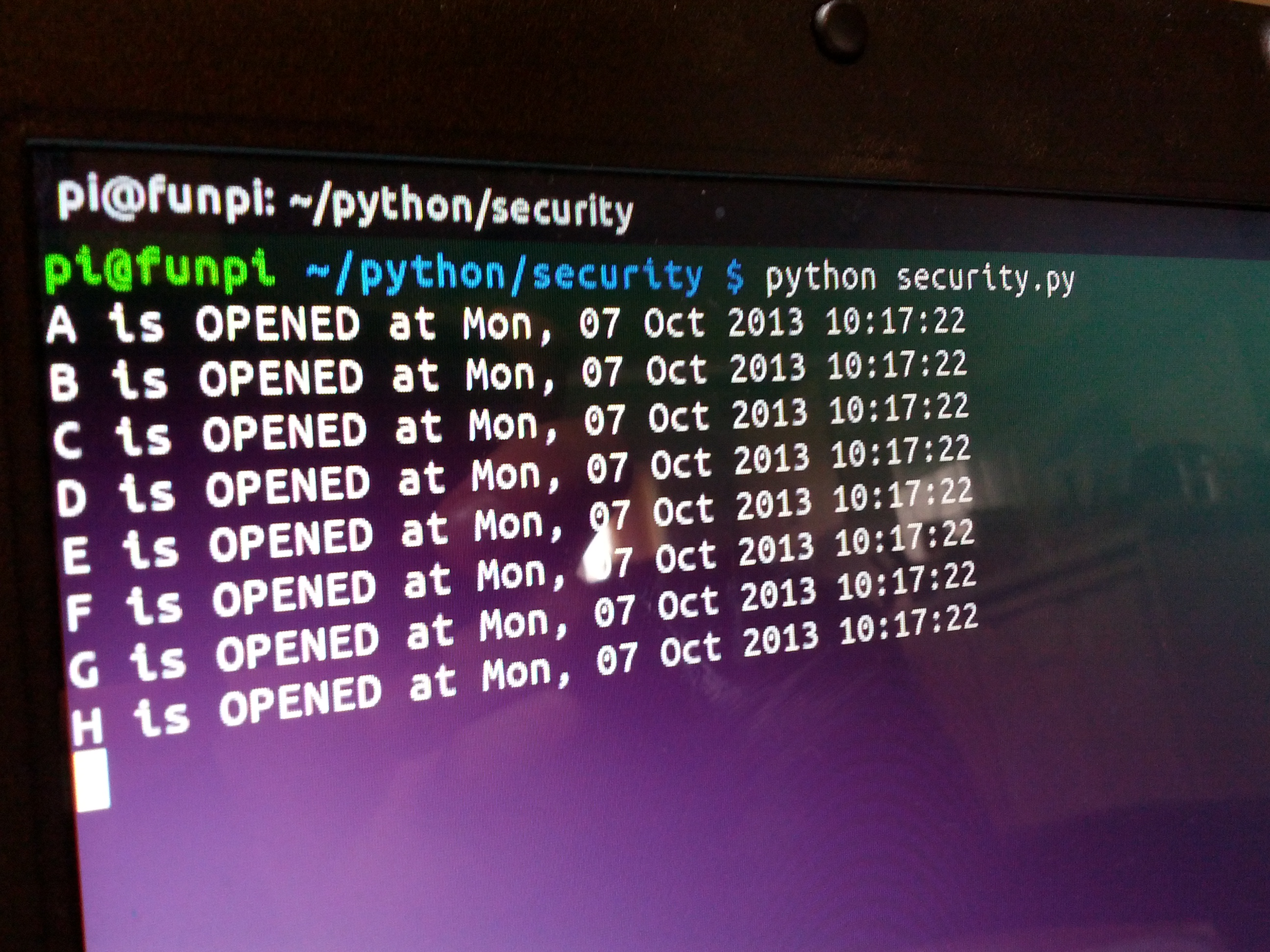 Raspberry Pi Simple Home Security System Wiringpi Python Functions